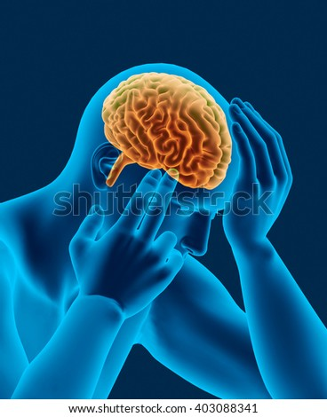headache x-ray scan of human head with visible brain 3d render side view - stock photo