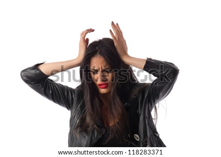 Headache - Young woman having a headache / migraine - stock photo