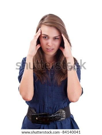Headache - Young woman holding head isolated on white background - stock photo
