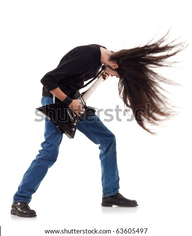 headbanging rocker plays guitar on a white background - stock photo