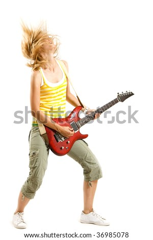headbanging woman guitarist playing her guitar over white