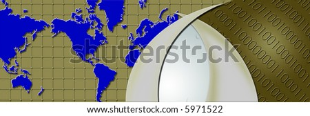 Header graphics - Binary world with world map