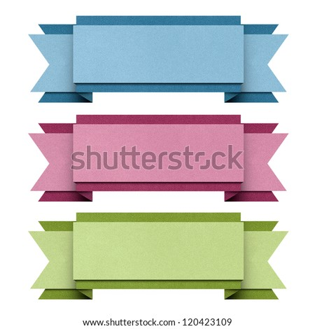 Header origami tag recycled papercraft. - stock photo
