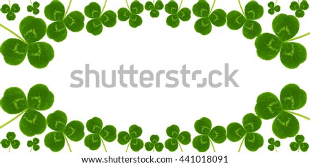 header site green grass three leaves clover  backdrop for the St. Patrick's Day celebrations panorama. Text Box - stock photo