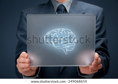 Headhunter, human resources (HR), think about business connected with new technologies, creativity and business vision concept. Businessman with futuristic tablet and brain on it.  - stock photo