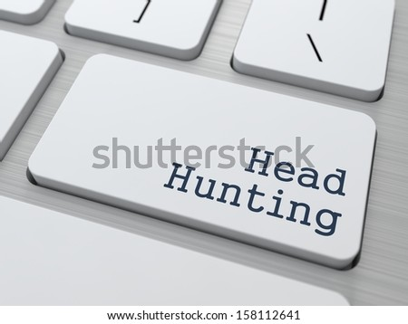 Headhunting. Button on Modern Computer Keyboard. Business Concept. 3D Render. - stock photo