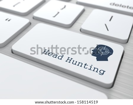Headhunting. Button on Modern Computer Keyboard with Thematic Icon. Business Concept. 3D Render. - stock photo