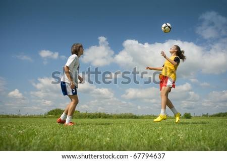 Heading the Ball - stock photo