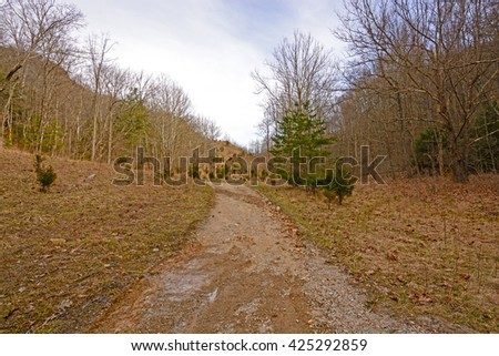 Heading to Cumberland Gap on the Wilderness Road in Cumberland Gap National Park in Kentucky - stock photo