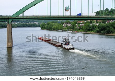 Heading Up river - stock photo