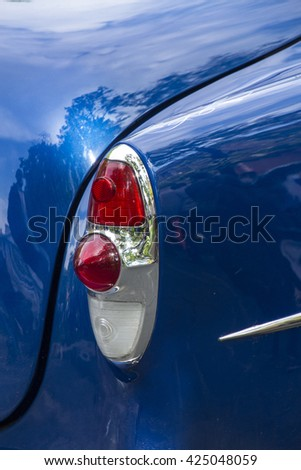 Headlamp of retro car - stock photo