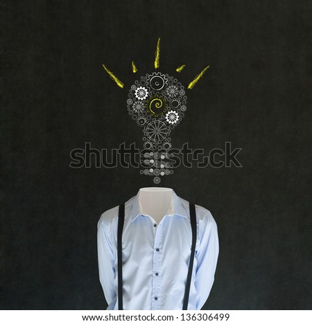 Headless bright idea business man, teacher, engineer or student with chalk background cogs and gears lightbulb head - stock photo