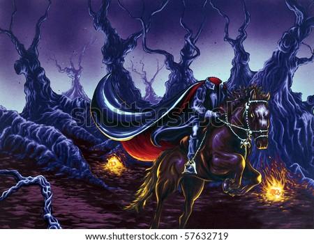 Headless Horseman Painting - stock photo
