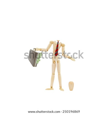 Headless mannequin wearing businessman attire red tie holding attache briefcase overflowing with us currency one hundred dollar bills standing next to his head on floor isolated on white background - stock photo