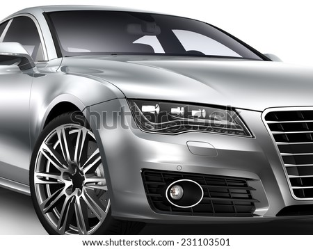 Headlight and rim of silver luxury car - stock photo