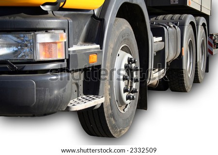 Headlight and wheels of the new auto truck, Isolated - stock photo