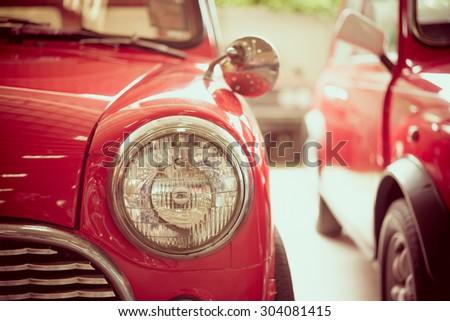 Headlight lamp vintage car - selective focus & vintage effect style - stock photo