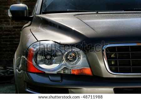 Headlight of the european car, type frontal - stock photo