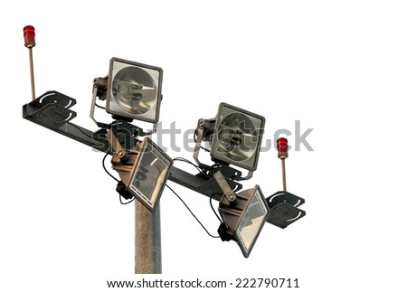 Headlights lighting isolated on a white background. - stock photo