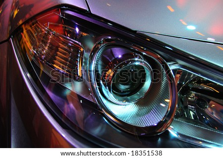 Headlights of a car. - stock photo
