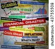 Headlines of the bad business economy and economic disaster cutouts in various fonts and colors. There are also some charts and graphs. - stock vector
