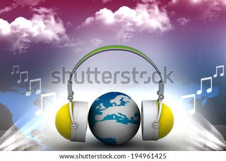 Headphone and globe   - stock photo