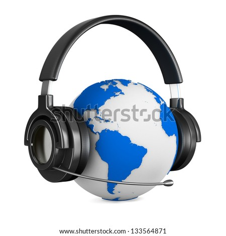 Headphone and globe on white background. Isolated 3D image - stock photo