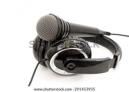 Headphone and microphone on a white background