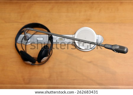 headphone and microphone on the table