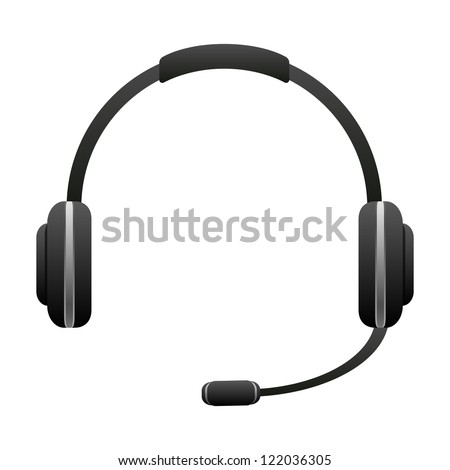 Headphone for support icon isolated on white background - stock photo