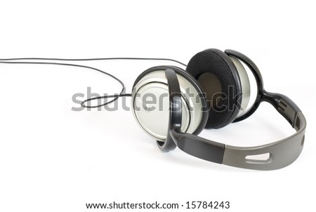 Headphone lay on a white background