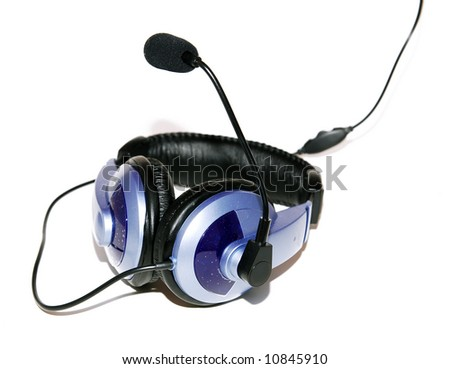 Headphone with microphone on white background