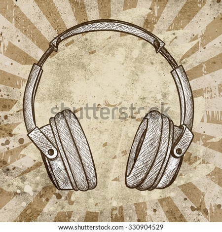 headphones against grunge background with scratches and stains - stock photo