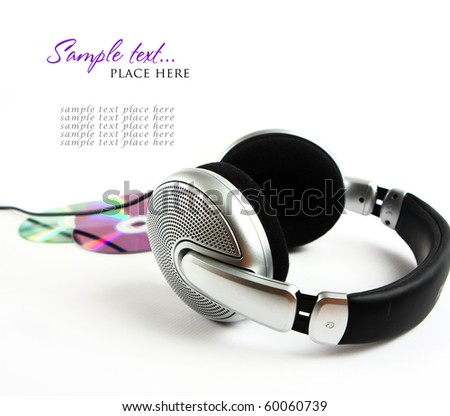 headphones and CD - stock photo