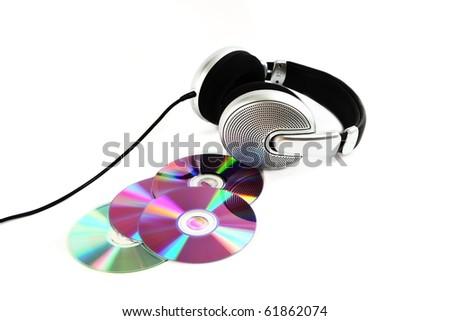 headphones and CD - stock photo