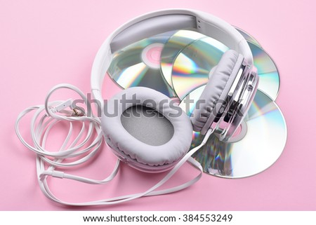 Headphones and Discs - stock photo