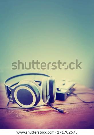Headphones and DJ equipment - stock photo