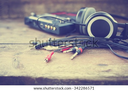 Headphones and DJ equipment/ selective focus - stock photo