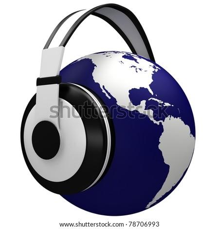 Headphones and earth isolated on a white background. - stock photo