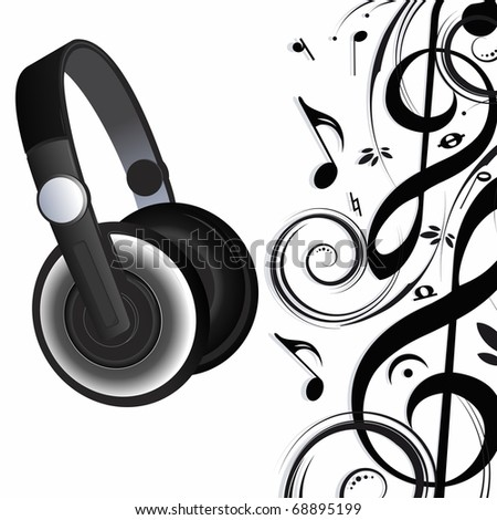 Headphones and music notes - stock photo
