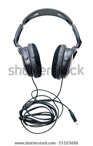 Headphones and plug isolated on pure white - stock photo