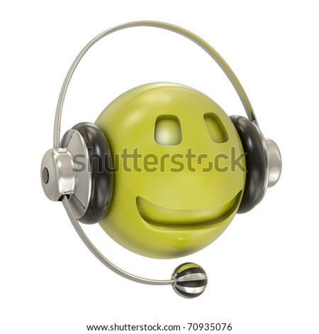 Headphones and smiley character isolated on white