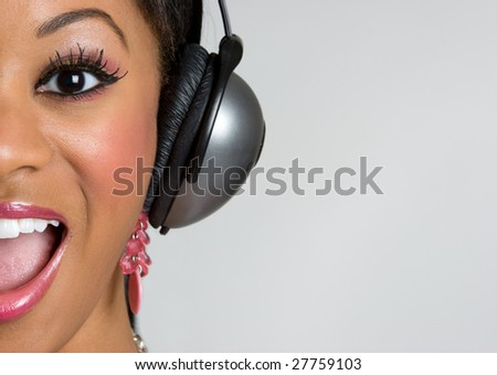 Headphones Girl - stock photo