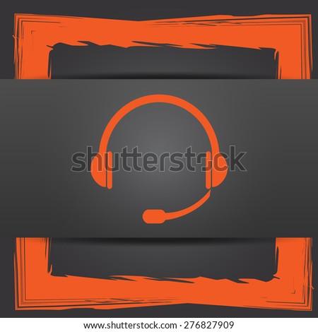 Headphones icon. Internet button on grey background.  - stock photo
