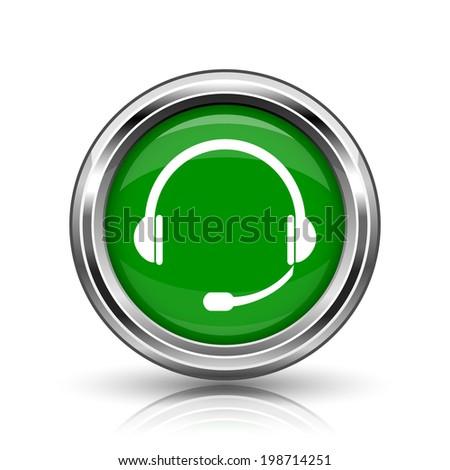 Headphones icon. Metallic internet button on white background.  - stock photo