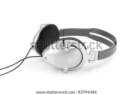 Headphones. Isolated on a white. - stock photo
