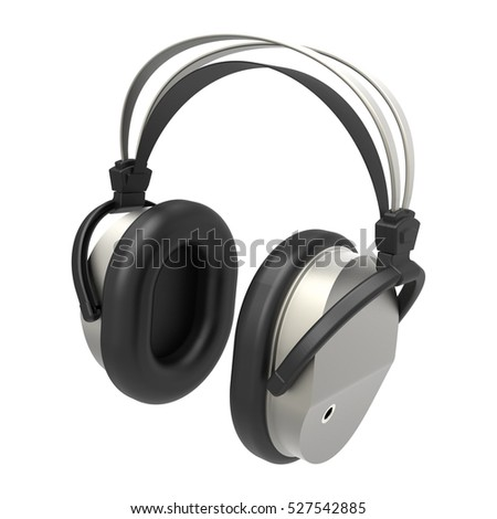 Headphones isolated on white background 3D rendering