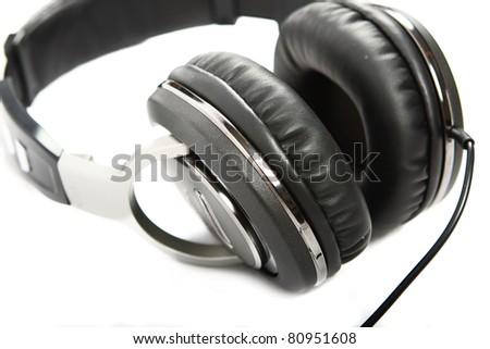 Headphones isolated on white background. Shallow DOF - stock photo