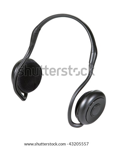 headphones isolated with clipping path on white background - stock photo