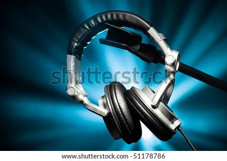 headphones on blue - stock photo